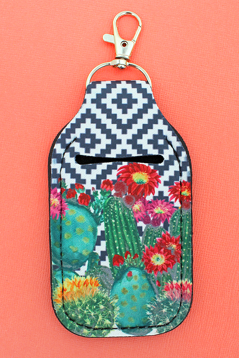 Cactus Garden Diamond Daze Hand Sanitizer Holder Keychain