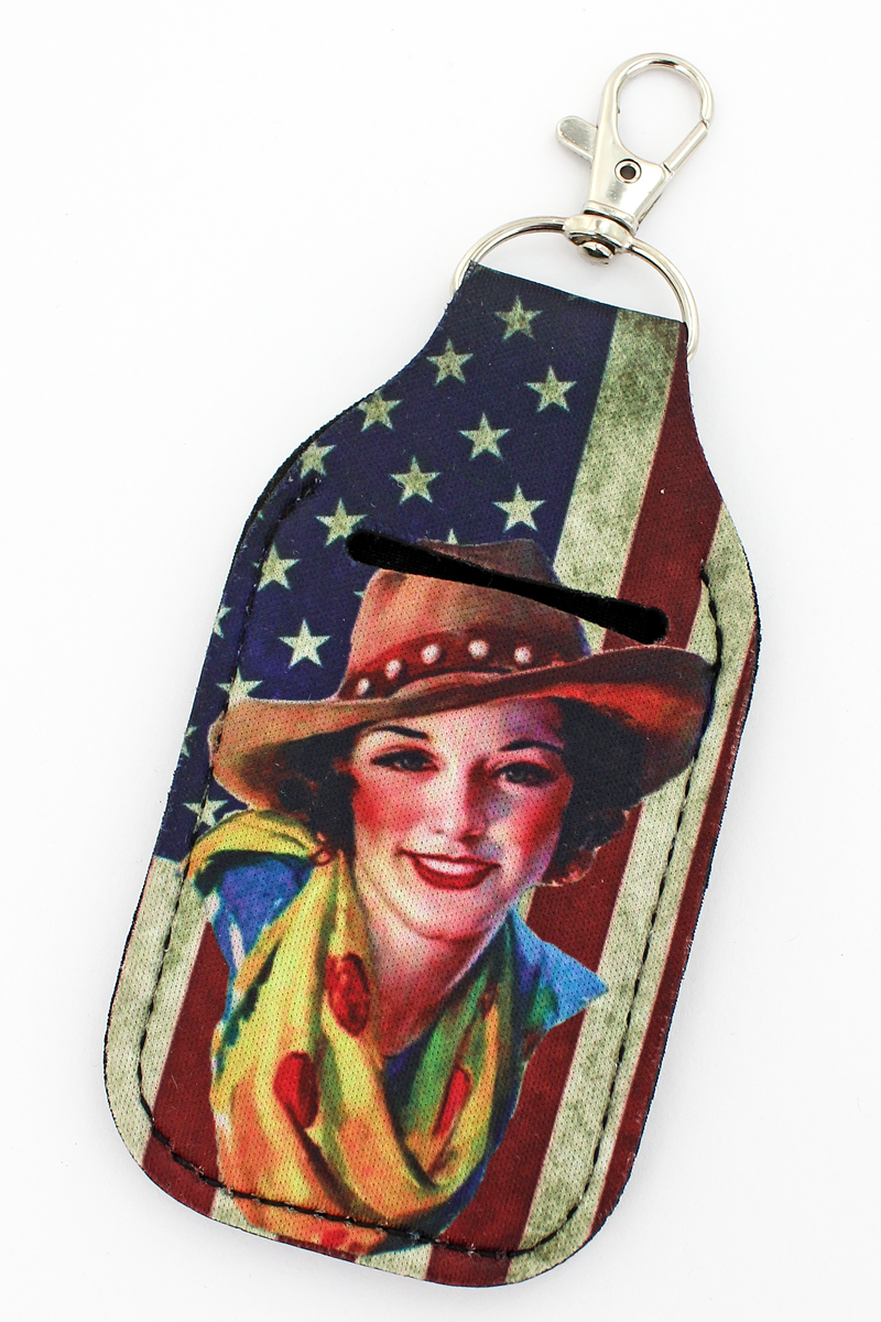 Cowgirl Distressed Flag Hand Sanitizer Holder Keychain