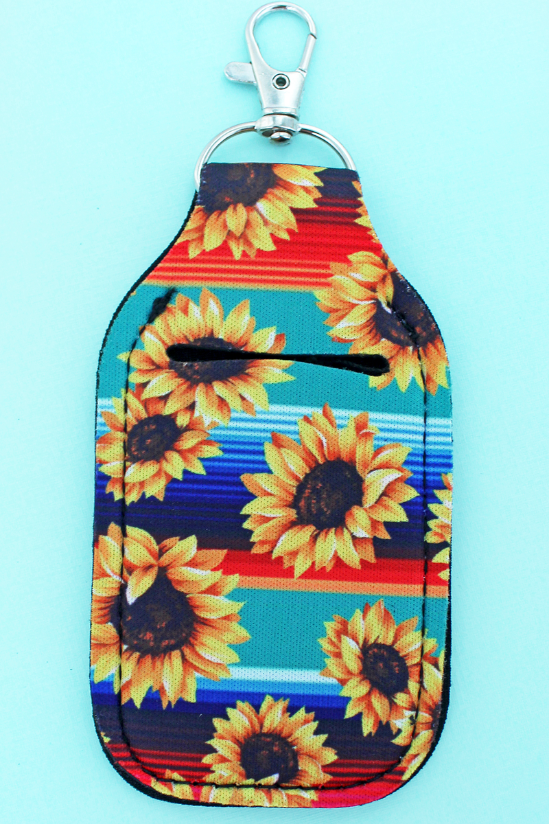 Sunflower Mint Serape Hand Sanitizer Holder Keychain