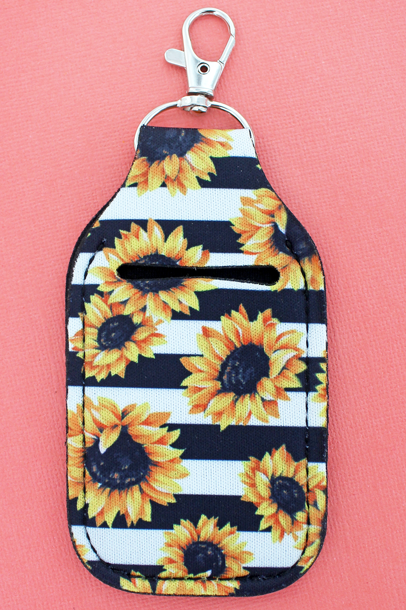 Sunflower Stripe Hand Sanitizer Holder Keychain
