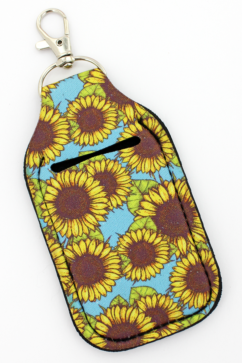 Sunflower Sky Hand Sanitizer Holder Keychain