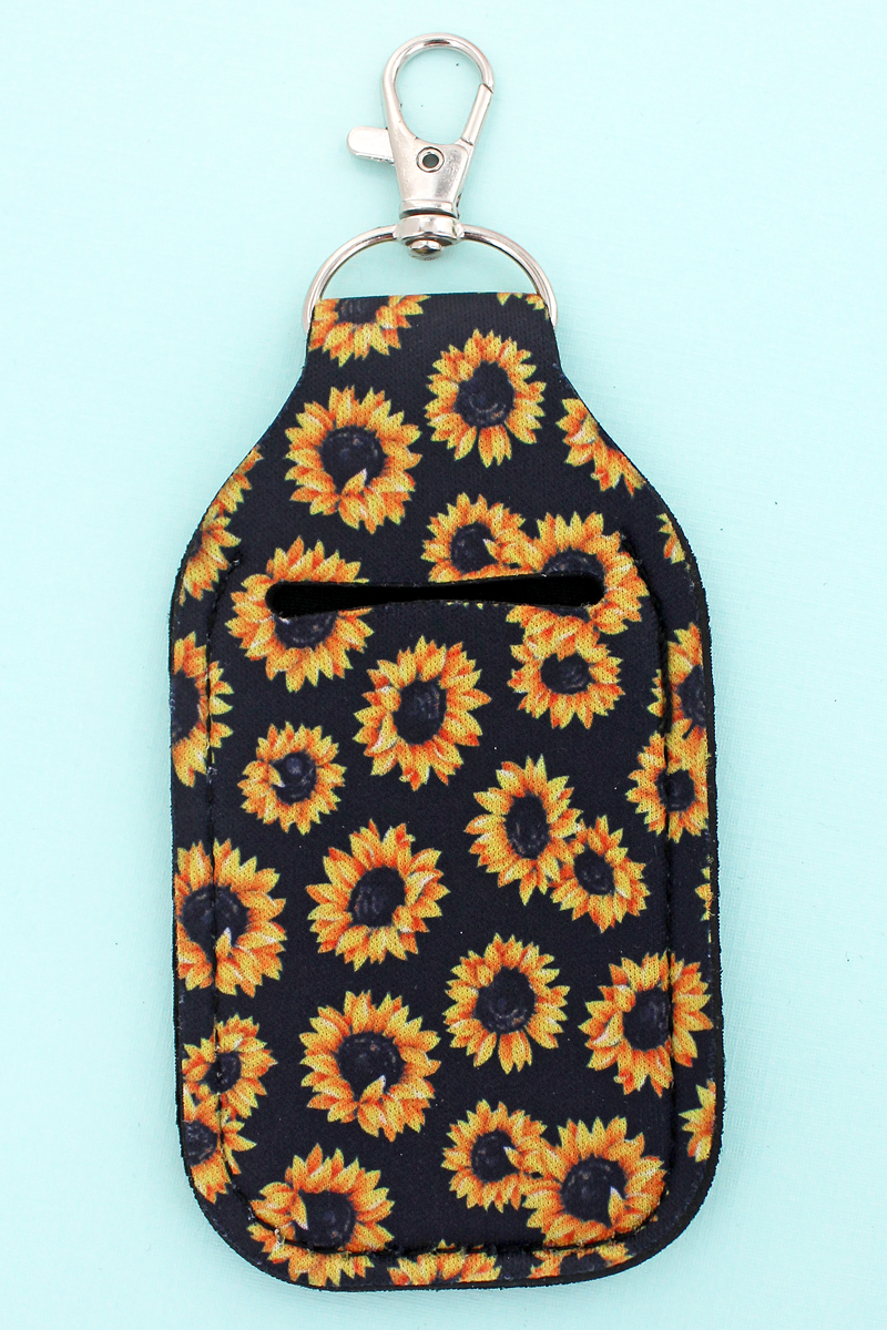 Sunflowers Hand Sanitizer Holder Keychain