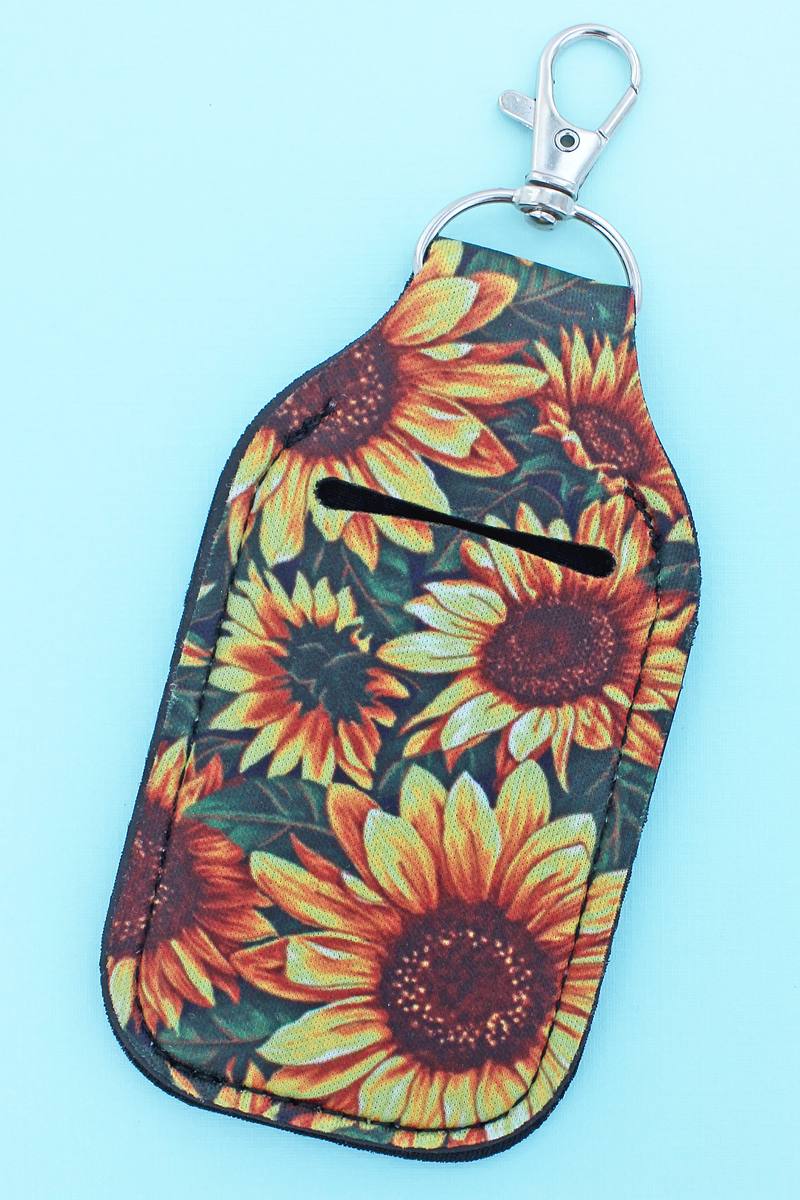 Wild Sunflower Hand Sanitizer Holder Keychain