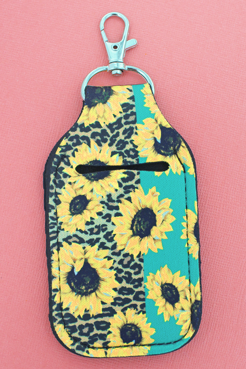 Sunflower Leopard & Mint Colorblock Hand Sanitizer Holder Keychain