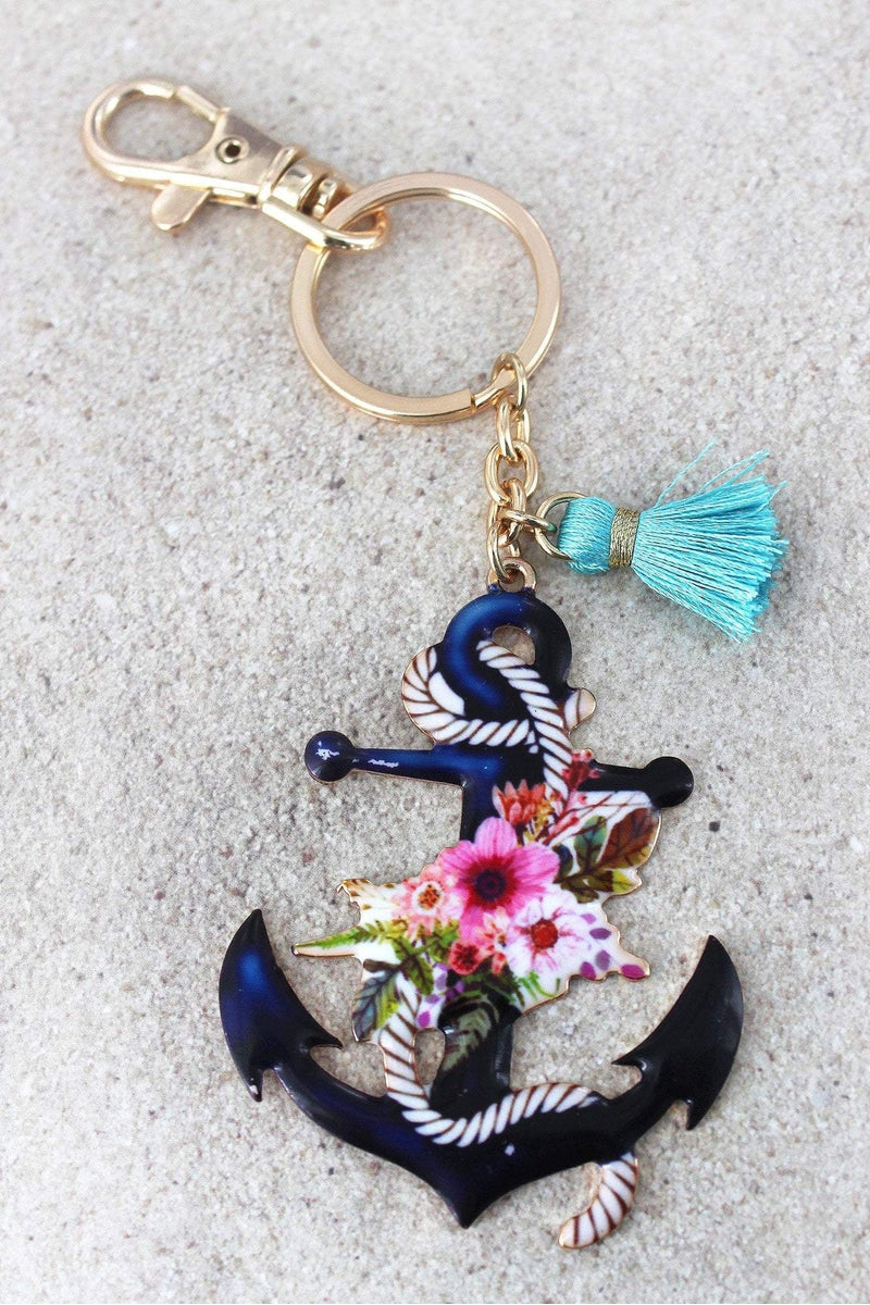 Floral Anchor with Tassel Charm Goldtone Keychain