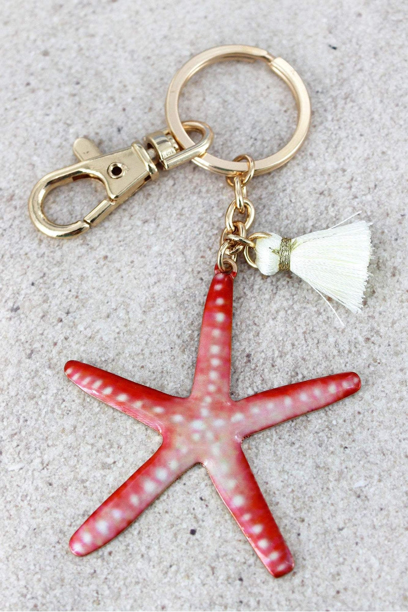 Starfish with Tassel Charm Goldtone Keychain