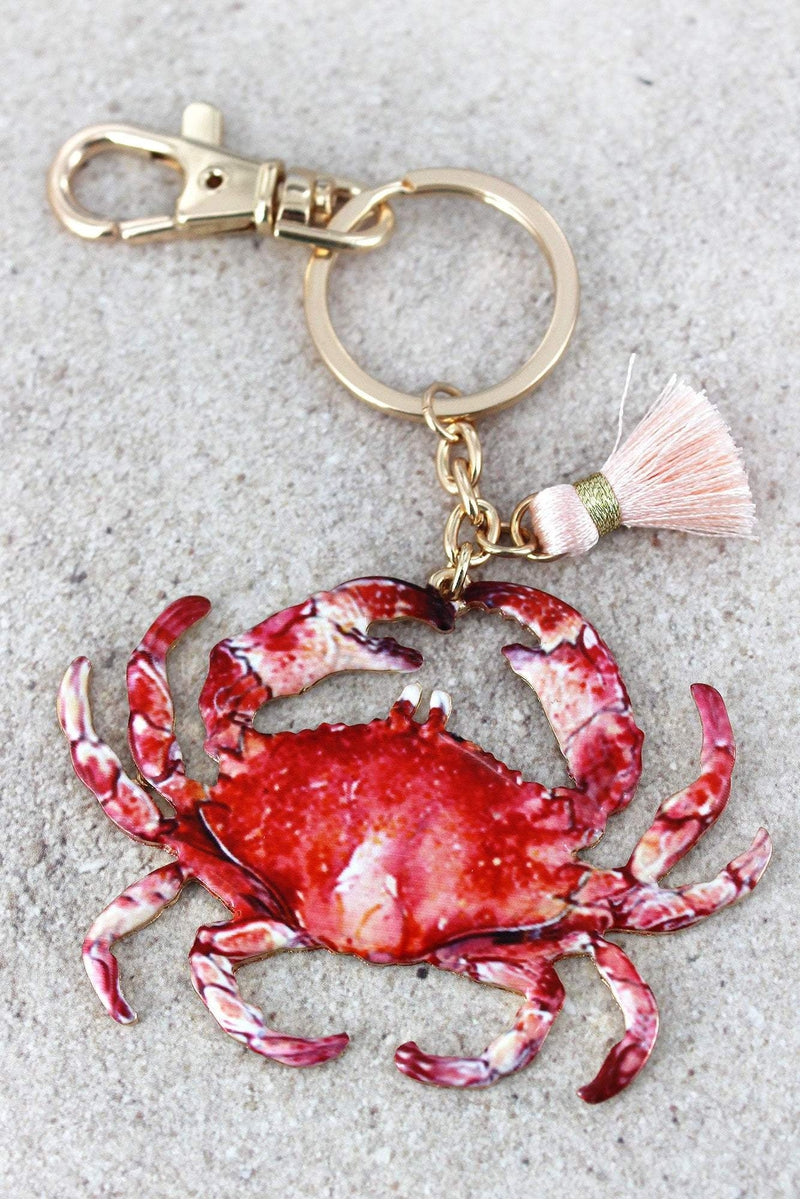 Crab with Tassel Charm Goldtone Keychain