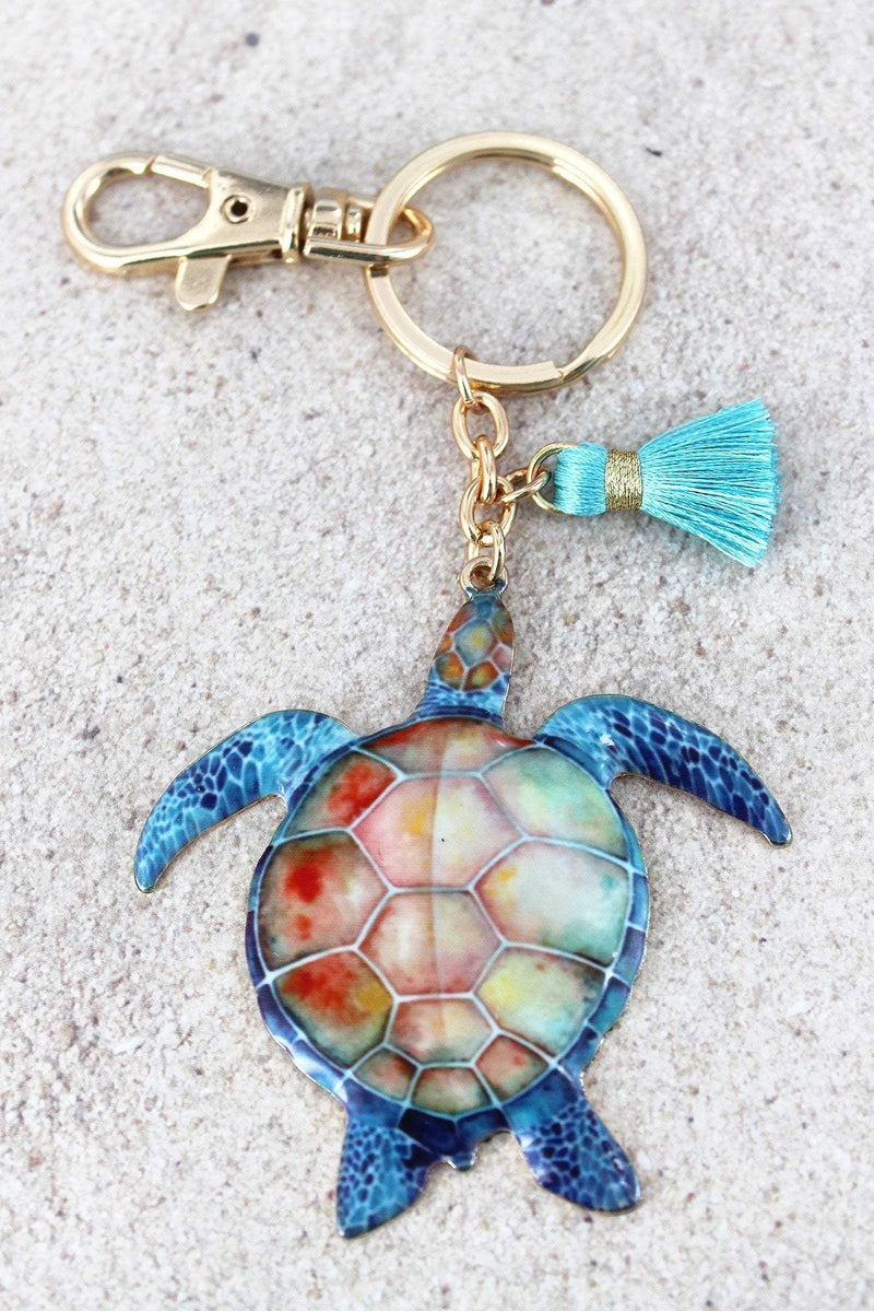 Turtle with Tassel Charm Goldtone Keychain