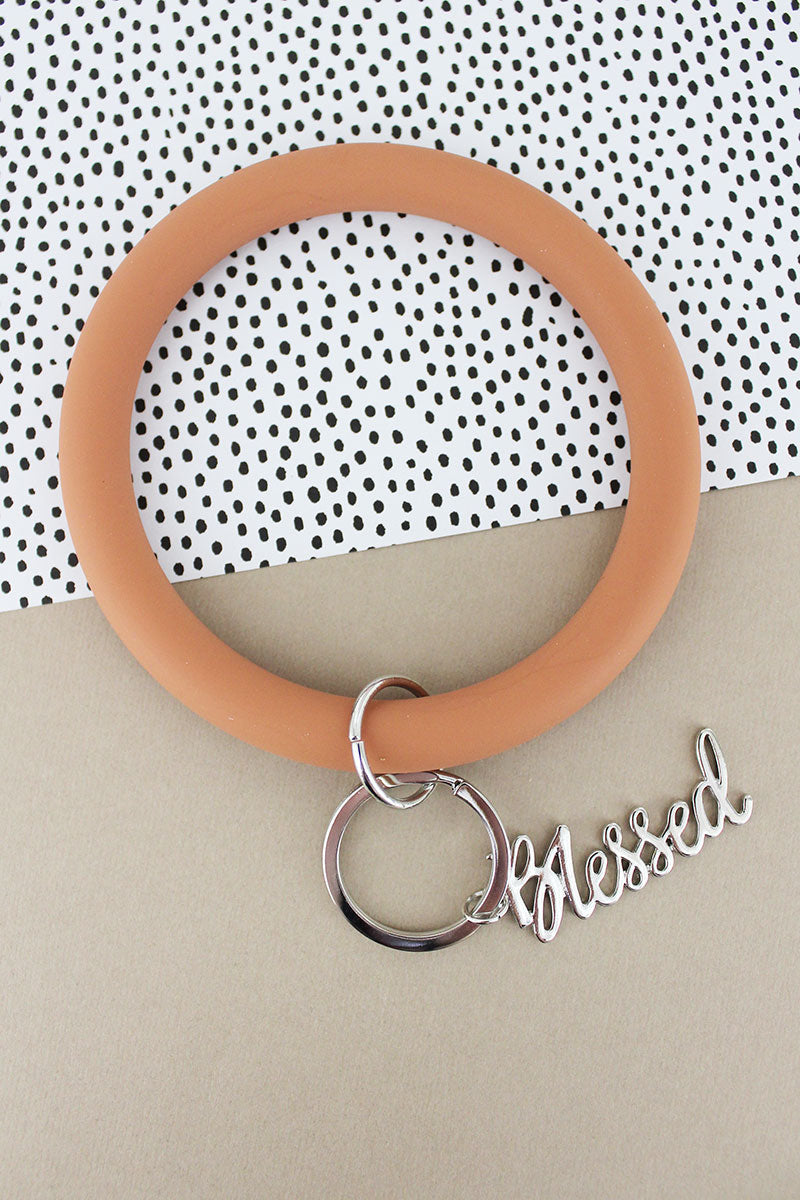 Silvertone 'Blessed' Salmon Silicone Bangle Keychain