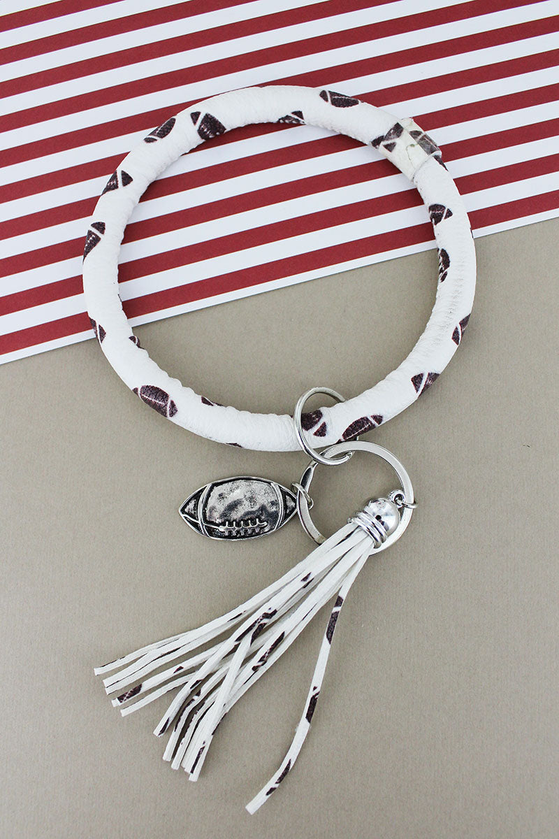 Faux Leather Football Tassel Bangle Keychain