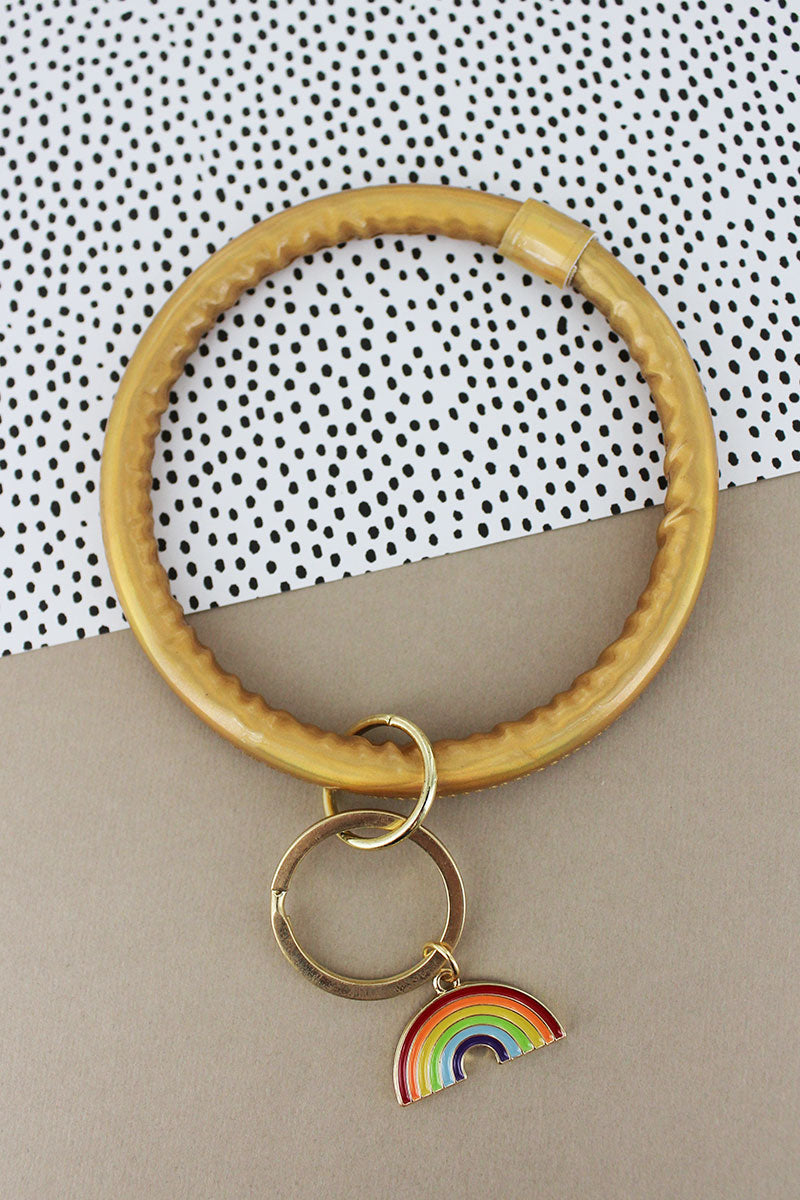 Rainbow Gold Faux Patent Leather Bangle Keychain