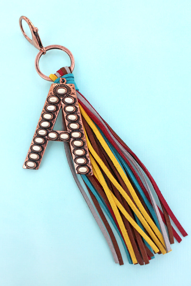 White Beaded Coppertone 'A' Initial Tassel Keychain