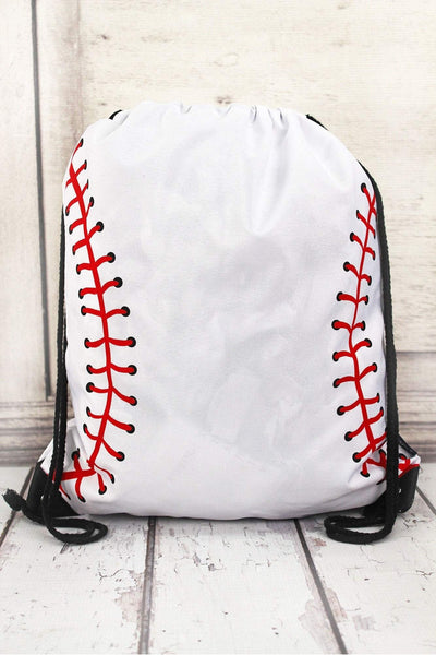 NGIL Baseball Laces Drawstring Backpack