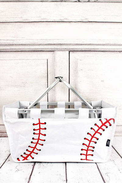 NGIL Baseball Laces Collapsible Market Basket