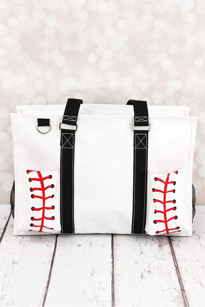 NGIL Baseball Laces Utility Tote with Black Trim