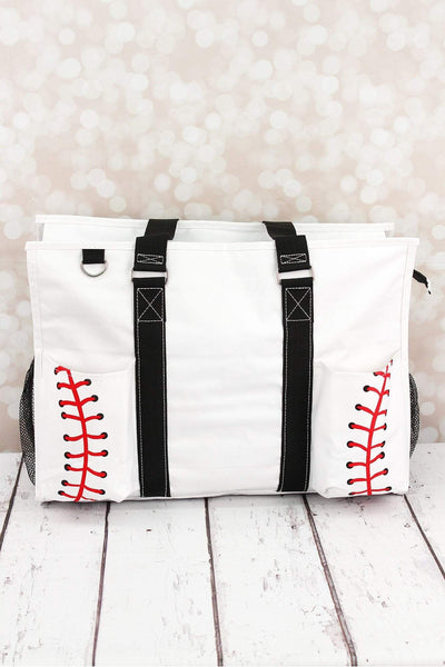 NGIL Baseball Laces with Black Trim Large Organizer Tote