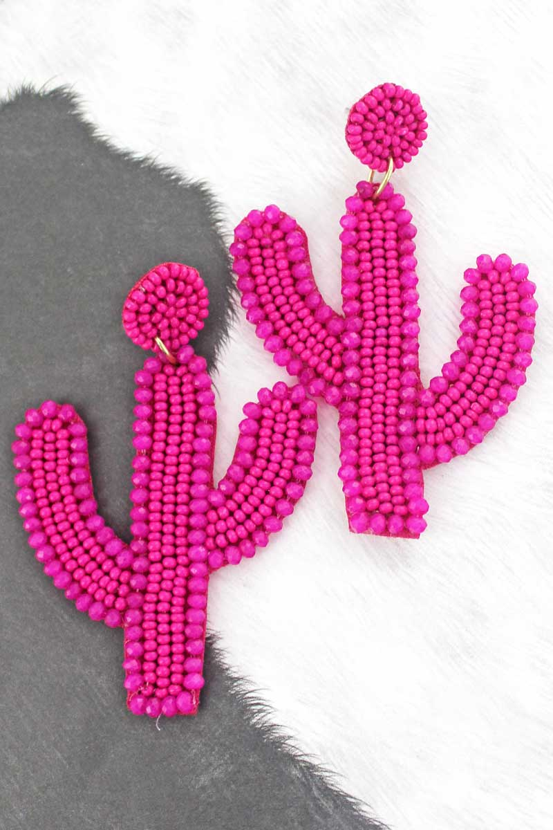 Fuchsia Glass Trimmed Seed Bead Cactus Earrings
