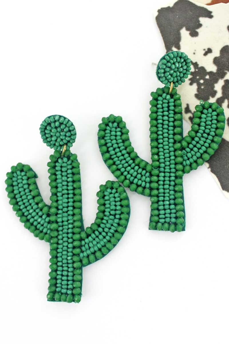 Green Glass Trimmed Seed Bead Cactus Earrings
