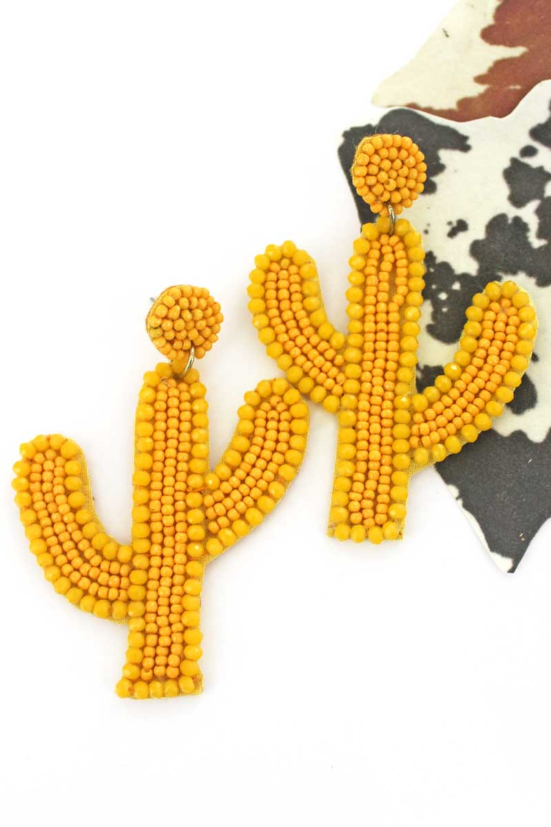Mustard Glass Trimmed Seed Bead Cactus Earrings