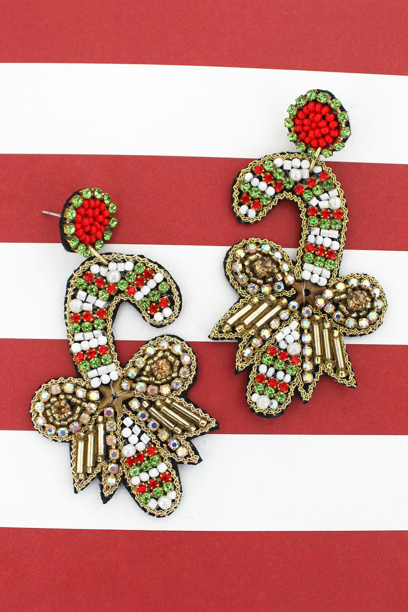 Candy Cane Crystal and Seed Bead Earrings
