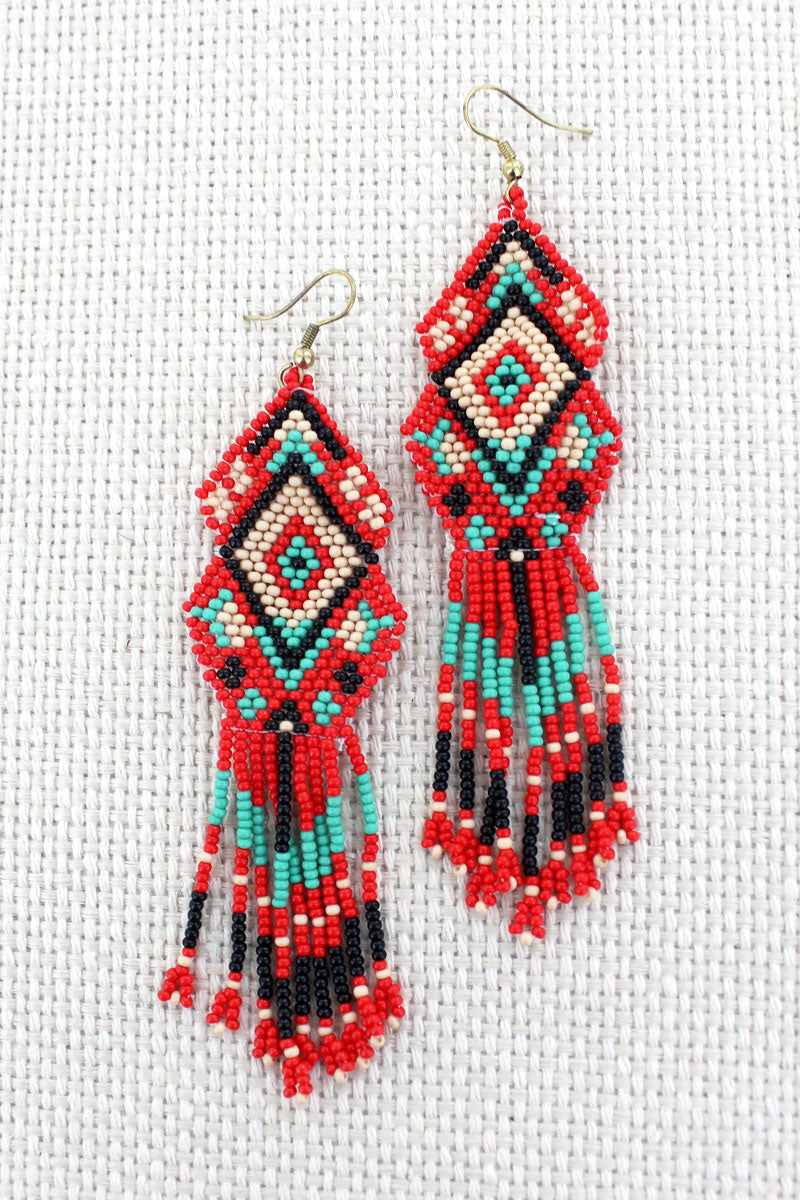 Coral Multi-Color Seed Bead Mountain Mesa Earrings