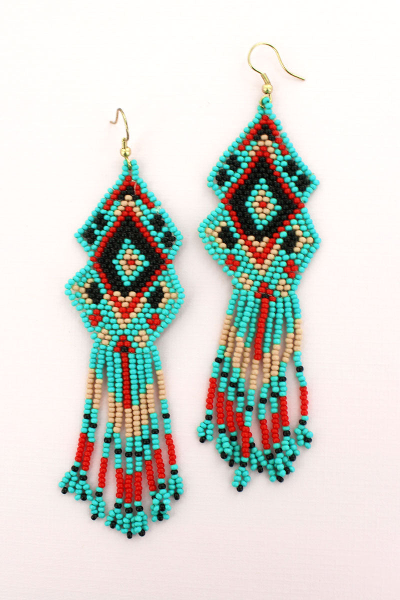 Turquoise Multi-Color Seed Bead Mountain Mesa Earrings