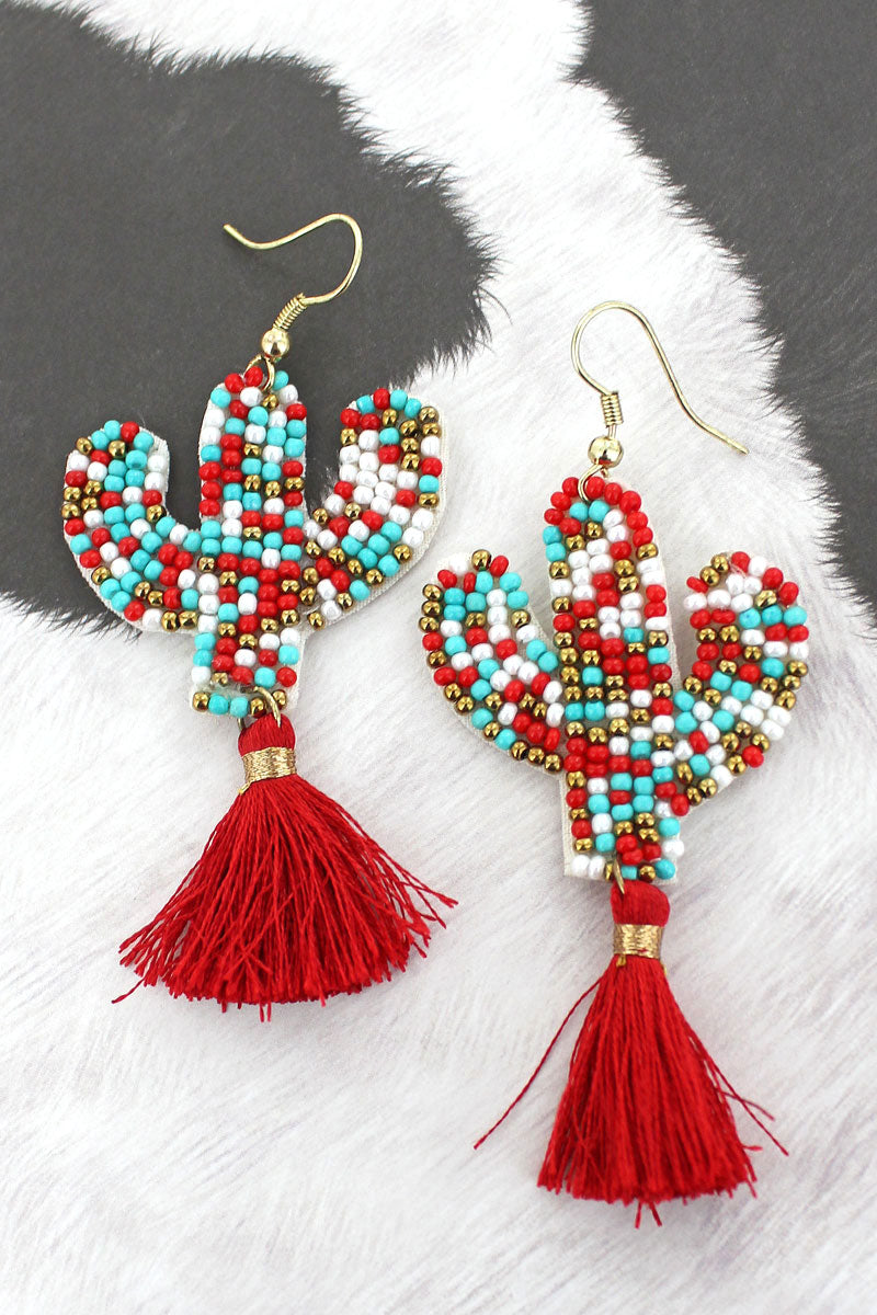 Turquoise and Red Seed Bead Cactus Tassel Earrings