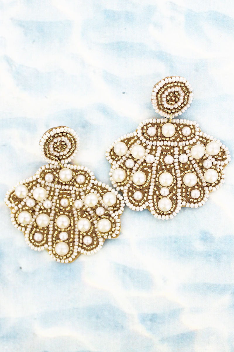 Pearl and Seed Bead Clam Shell Earrings