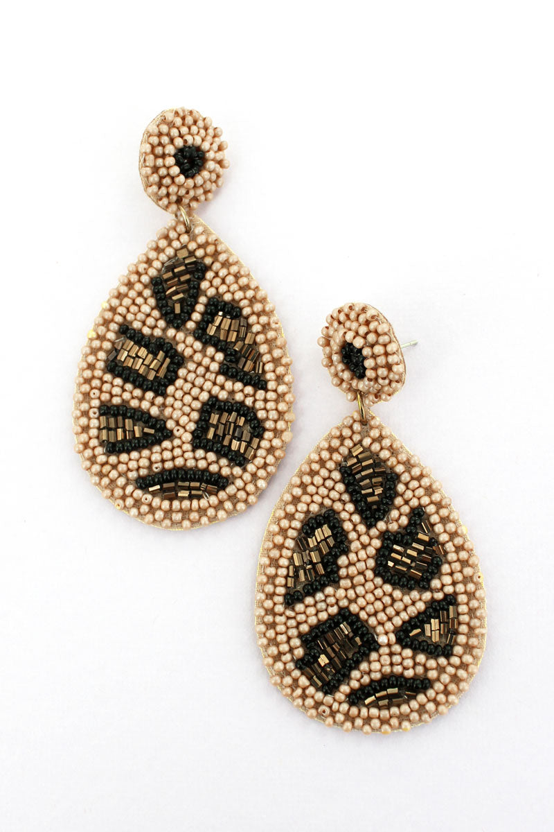Brown Leopard Seed Bead Teardrop Earrings
