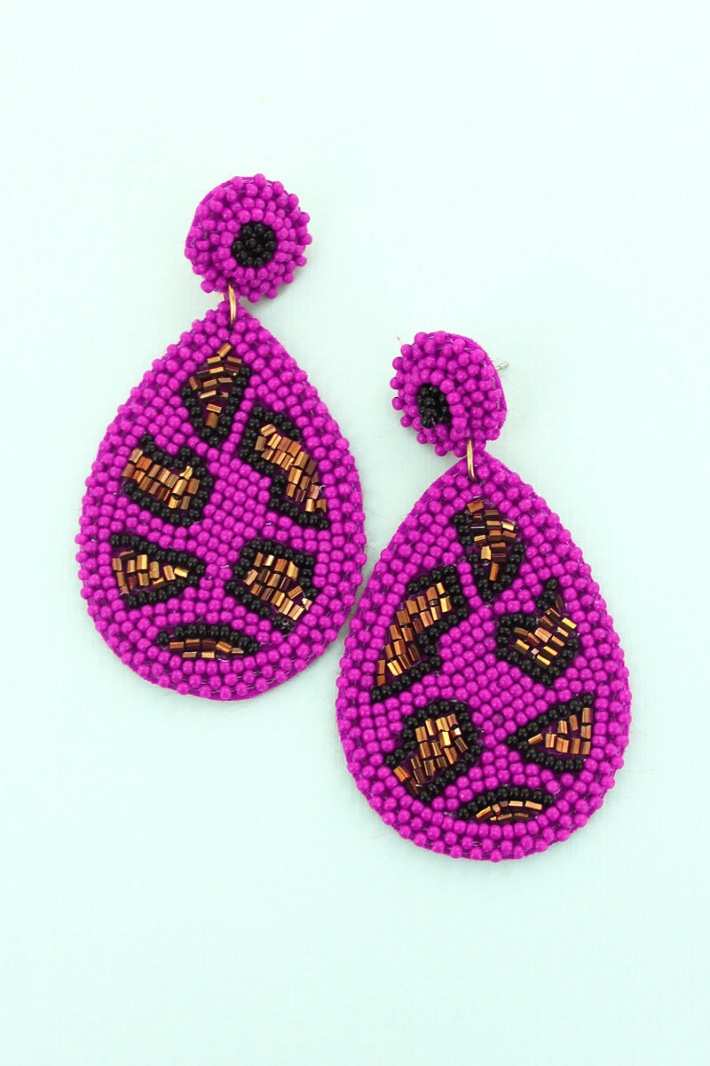 Fuchsia Leopard Seed Bead Teardrop Earrings