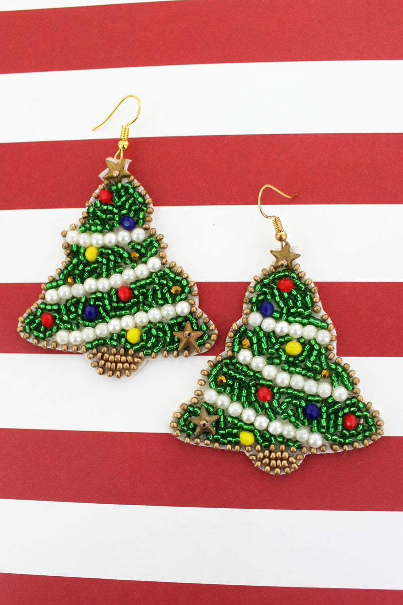 Green Christmas Tree Seed Bead Earrings