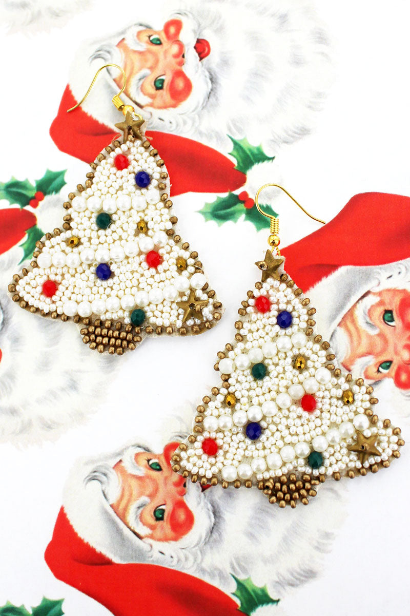 White Christmas Tree Seed Bead Earrings