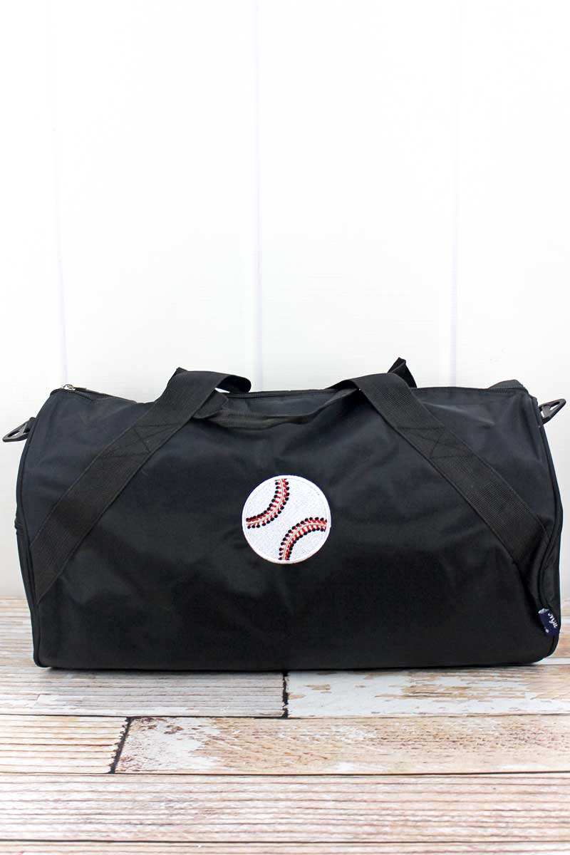 NGIL Embroidered Baseball Black Barrel Duffle Bag 18""