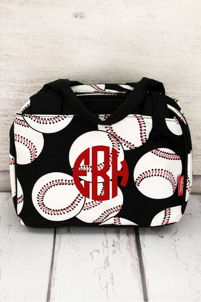 Baseball Insulated Bowler Style Lunch Bag #SKQ255-BLACK
