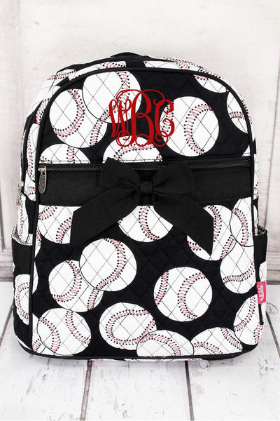 Baseball Quilted Large Backpack #SKQ2828-BLACK
