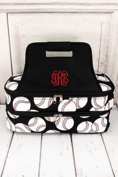 Baseball with Black Trim Insulated Double Casserole Tote #SKQ391-BLACK
