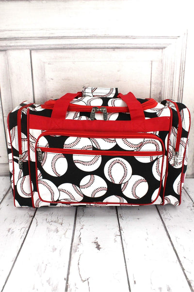"Baseball Duffle Bag with Red Trim 20"" #SKQ420-RED"