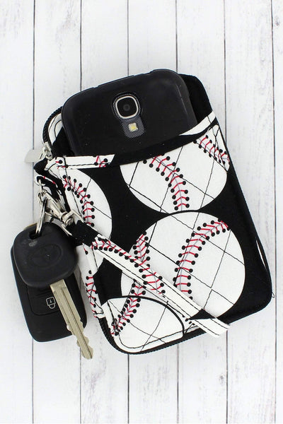 Baseball Quilted Wristlet #SKQ495-BLACK