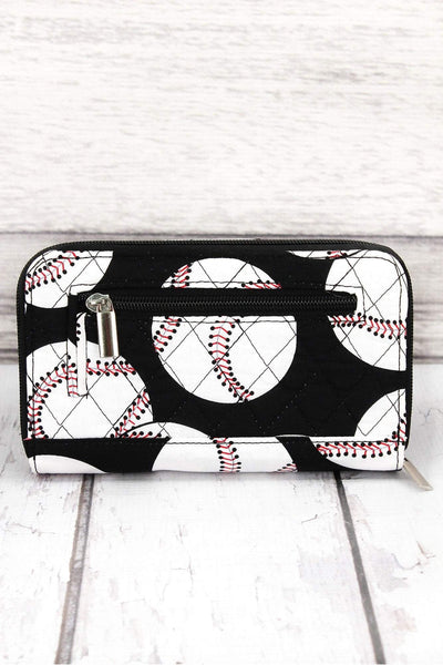 Baseball Quilted Organizer Clutch Wallet #SKQ517-BLACK