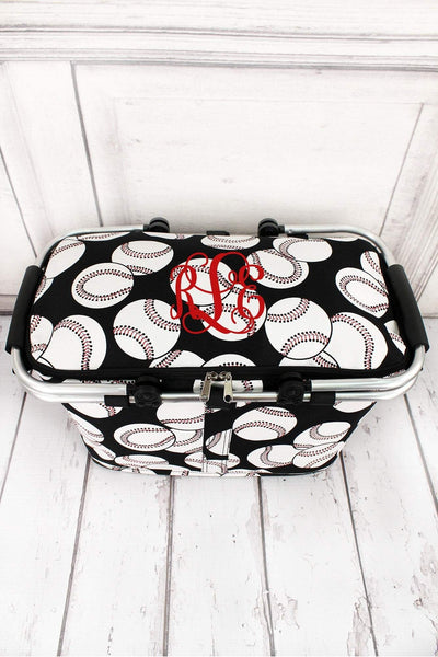 Baseball Collapsible Insulated Market Basket with Lid #SKQ658-BLACK