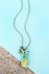 Pineapple Wood Charm Goldtone Anklet