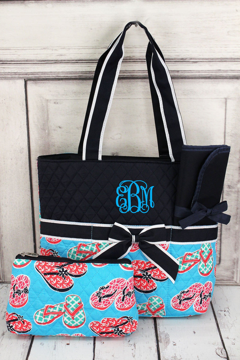 Flip Flop Fun Quilted Diaper Bag with Navy Trim #SLA2121-NAVY