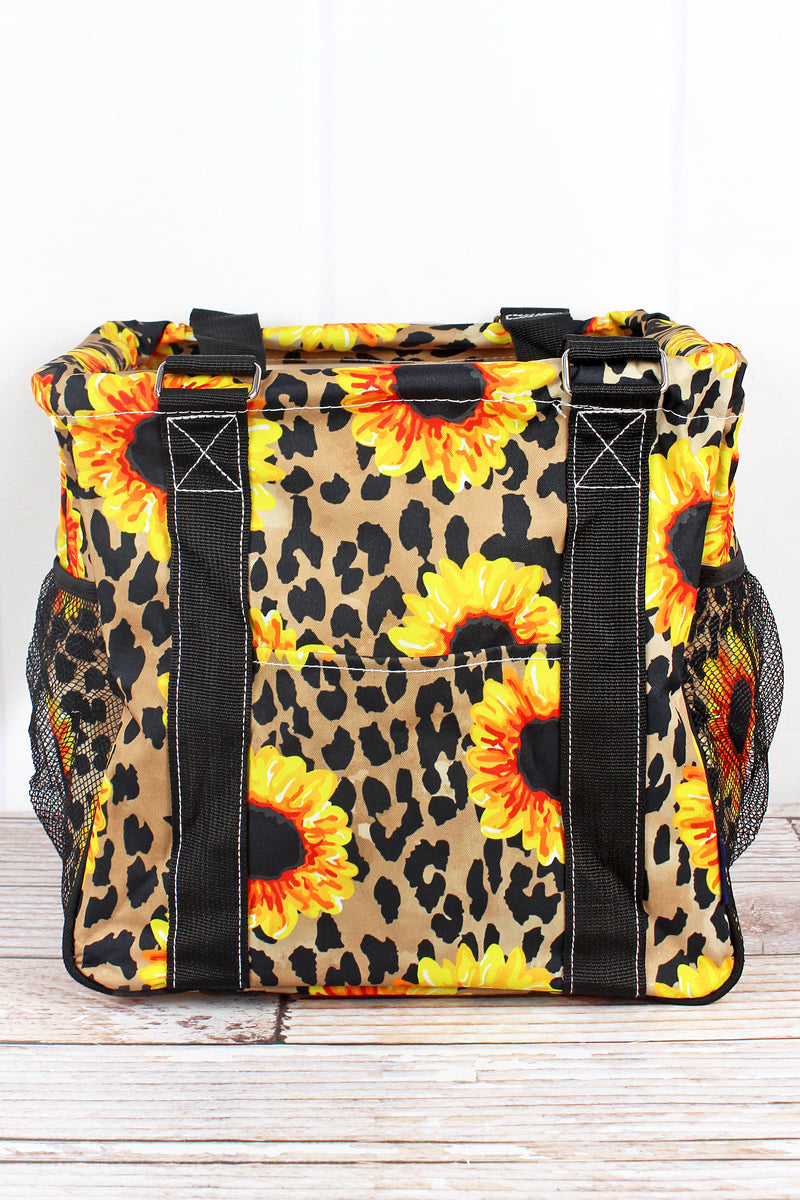 NGIL Sunflower Leopard Mini Collapsible Haul-It-All Basket with Mesh Pockets
