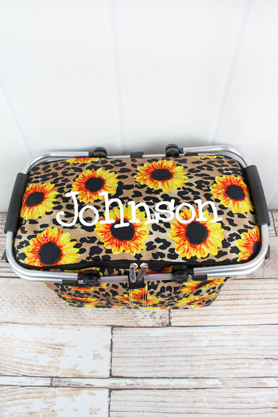 NGIL Sunflower Leopard Collapsible Insulated Market Basket with Lid
