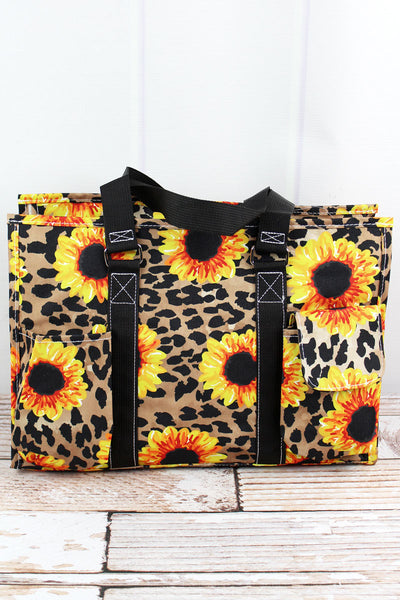 NGIL Sunflower Leopard Utility Tote with Black Trim