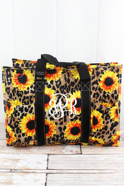 NGIL Sunflower Leopard with Black Trim Large Organizer Tote