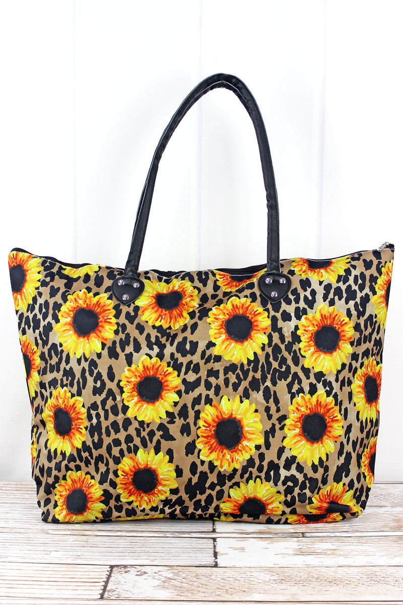 NGIL Sunflower Leopard Large Shoulder Tote