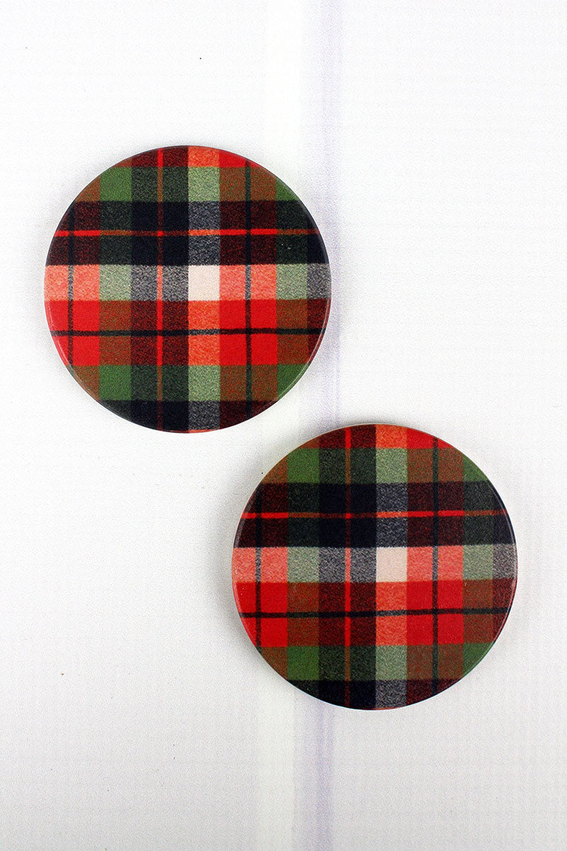 2 Piece Harvest Plaid Car Coaster Set