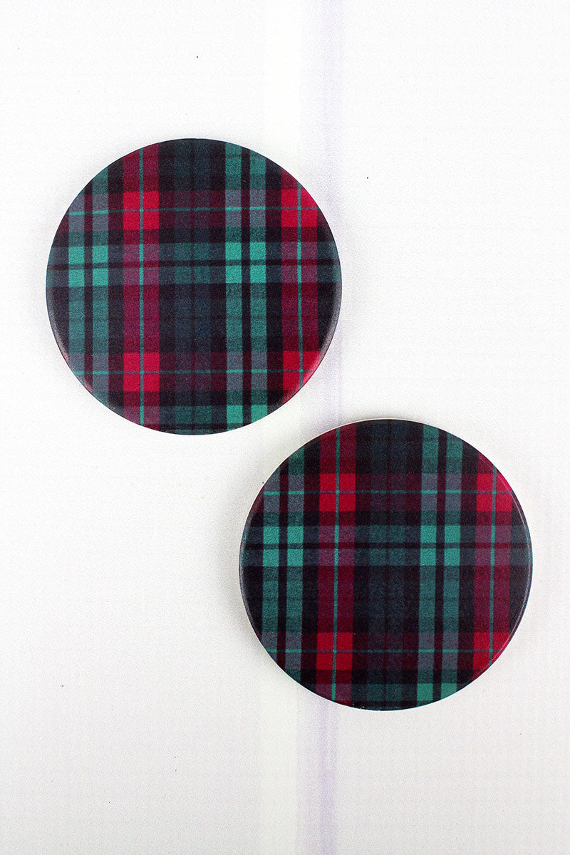 2 Piece Holiday Plaid Car Coaster Set