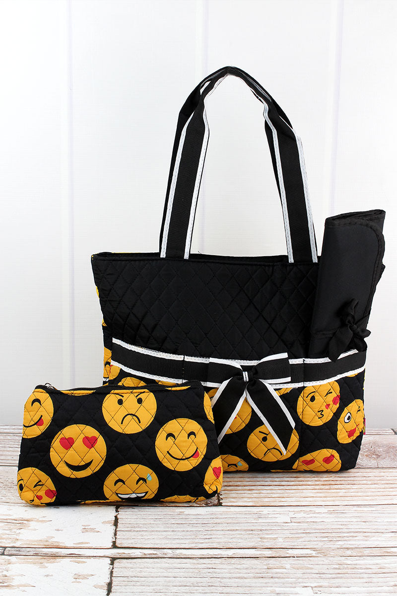 SALE! NGIL Emoji Quilted Diaper Bag with Black Trim